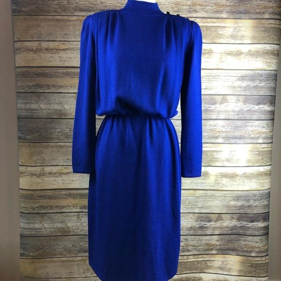 c5ba4ca324a VTG 80 s St. John for I. Magnin Blue Knit Dress 12.  M 5b7b4184bf772994a9e7c587